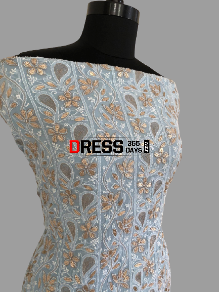 Powder Blue Gota Patti Chikankari Suit Suits