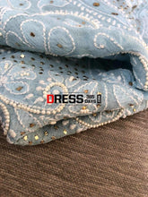 Load image into Gallery viewer, Powder Blue Mukaish And Pearl Lucknowi Anarkali Suit Chikankari