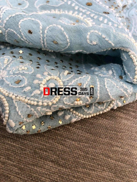 Powder Blue Mukaish And Pearl Lucknowi Anarkali Suit Chikankari