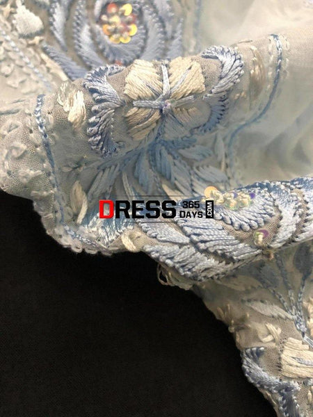 Powder Blue Parsi Gara Chikankari Suit Suits
