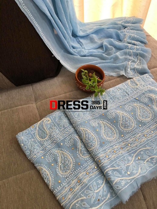 Powder Blue Pearl & Kamdani Chikankari Suit Suits