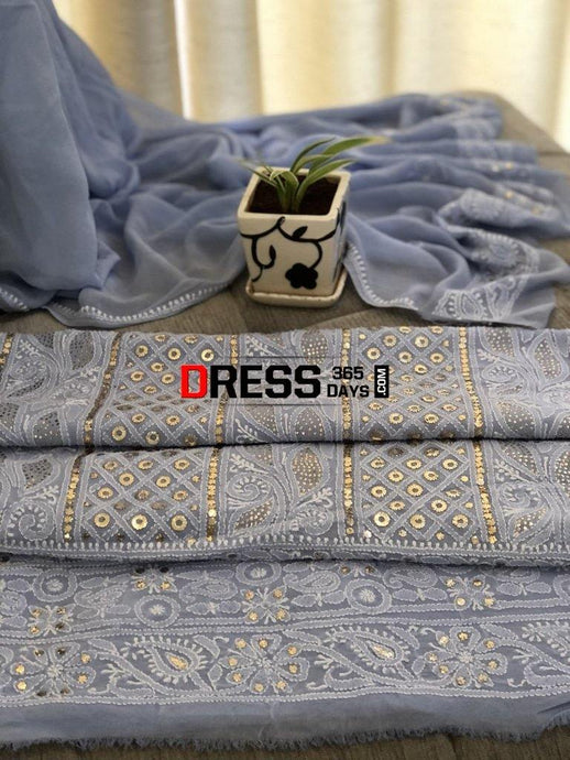 Powder Blue Ring Mukaish Chikankari Suit Suits