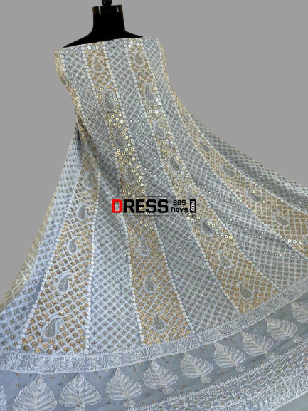 Powder Blue Ring Mukaish Work Chikankari Anarkali (Anarkali and Dupatta)