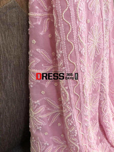 Powder Pink Chikankari Saree With Pearls