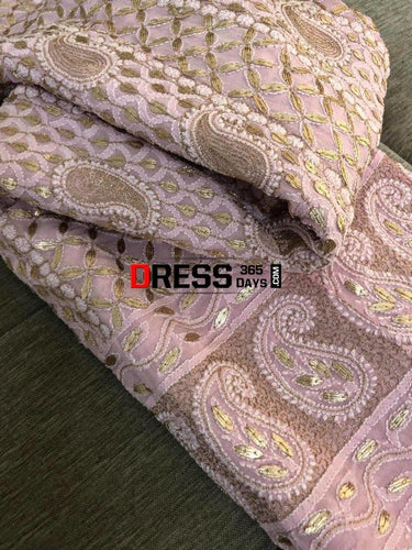 Powder Pink Gota Patti Chikankari Anarkali Suit