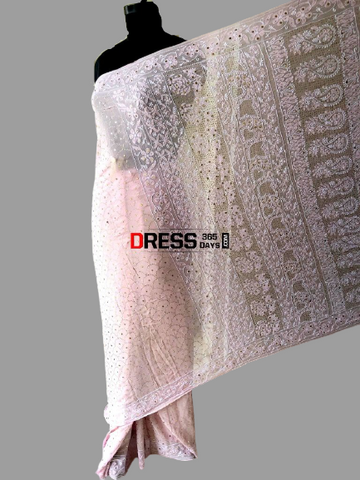 Powder Pink Lucknow Chikan Mukaish Saree
