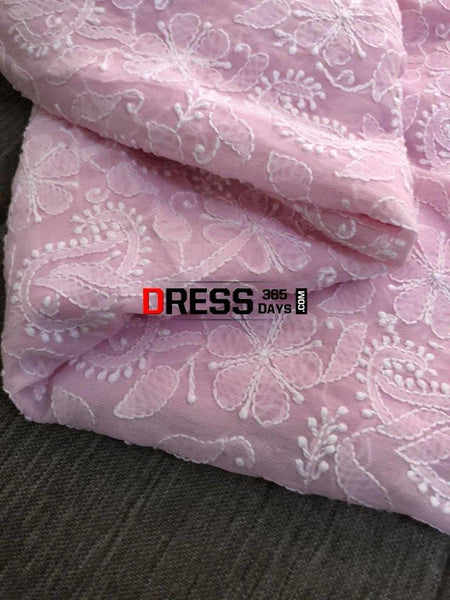 Powder Pink Lucknowi Chikankari Suit Suits