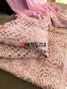 Powder Pink Mirror & Gota Patti Chikankari Anarkali Suit