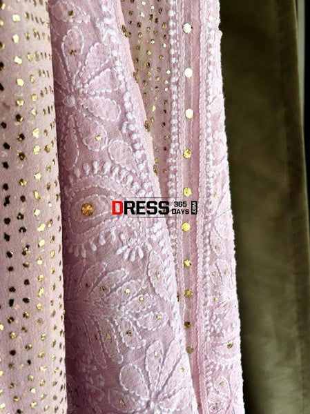 Powder Pink Mukaish Chikankari Anarkali Suit (Anarkali And Dupatta)