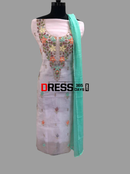 Powder Pink Multicolour Chikankari Neckline Suit Suits