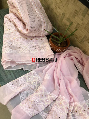 Powder Pink Pearl And Mukaish Chikankari Anarkali (Anarkali Dupatta)