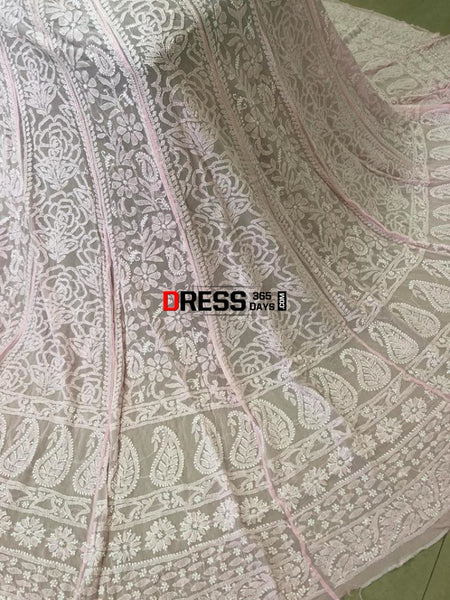 Powder Pink Pure Georgette Lucknow Chikankari Lehenga Set