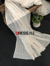 Load image into Gallery viewer, Pure Georgette Mukaish Dupatta Chikankari