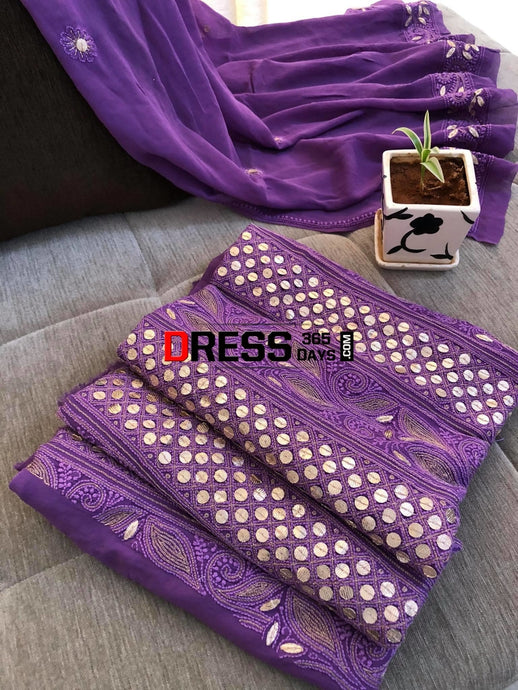 Purple Gota Patti Lucknowi Chikankari Suit Suits
