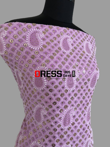 Purple Ring Mukaish Chikankari Suit Suits