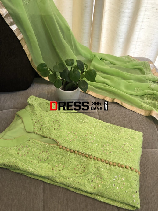 Ready To Wear Pure Georgette Chikankari Mukaish Suit Set (Three Piece) Suits