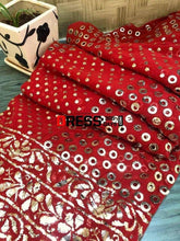 Load image into Gallery viewer, Red All Over Mukaish Anarkali Suit Chikankari