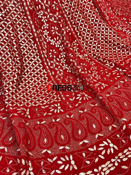 Red Gota Patti Chikankari Lehenga Skirt