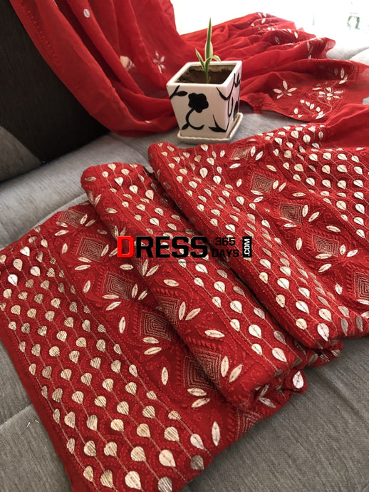Red Gota Patti Lucknowi Suit Chikankari Suits