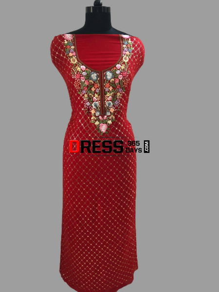 Red Kamdani And Parsi Gara Neckline Suit Chikankari Suits