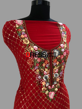 Load image into Gallery viewer, Red Kamdani And Parsi Gara Neckline Suit Chikankari Suits