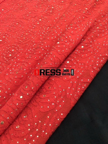 Red Mukaish Chikankari Saree