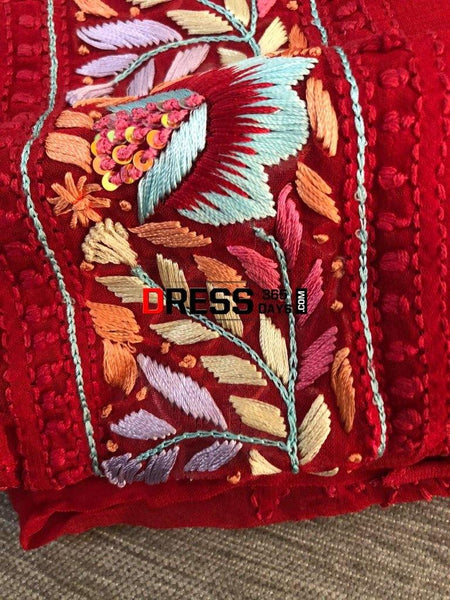 Red Parsi Gara Chikankari Suit Suits
