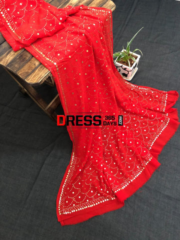 Red Pure Georgette Mukaish Work Dupatta Chikankari