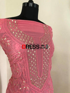 Rose Pink Gota Patti Lucknowi Chikankari Suit Suits