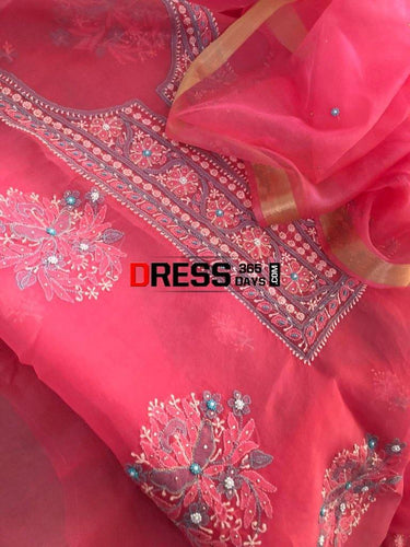 Rose Pink Organza Beads And Chikankari Suit Suits