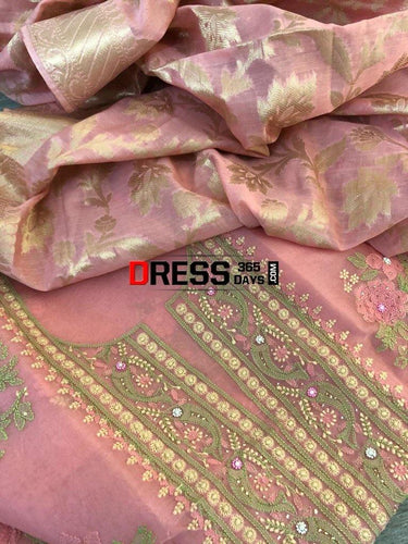 Rose Pink Organza Chikankari Suit With Heavy Banarasi Dupatta