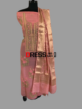 Load image into Gallery viewer, Rose Pink Organza Chikankari Suit with Heavy Banarasi Dupatta - Dress365days
