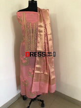 Load image into Gallery viewer, Rose Pink Organza Chikankari Suit With Heavy Banarasi Dupatta