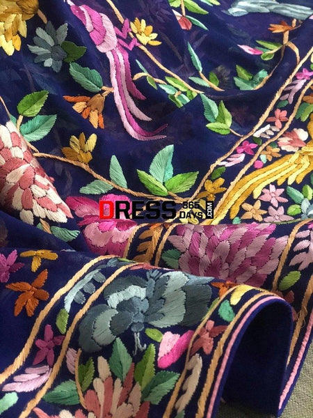 Royal Blue Hand Embroidered Parsi Gara Dupatta
