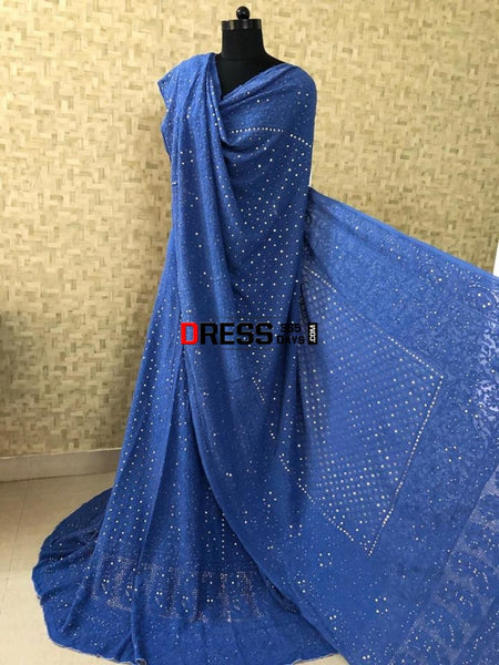 Royal Blue Lucknowi Chikankari Mukaish Lehenga