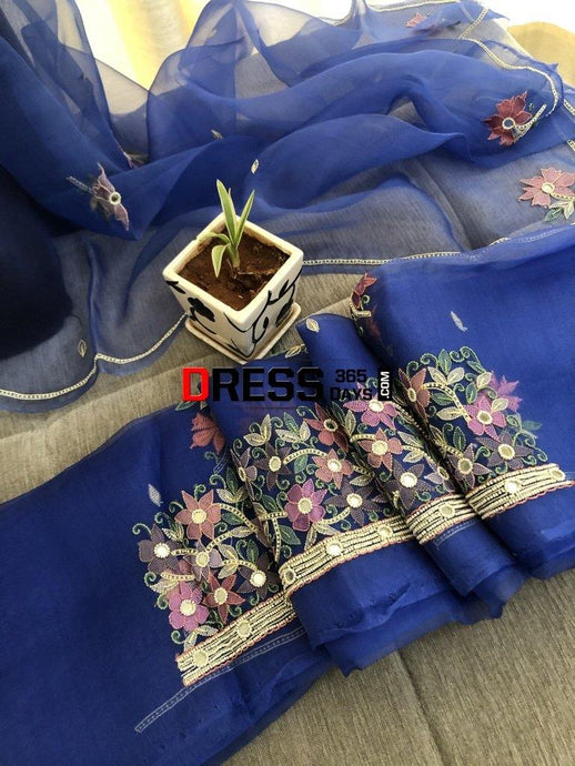 Royal Blue Organza Beads Chikankari Suit Suits