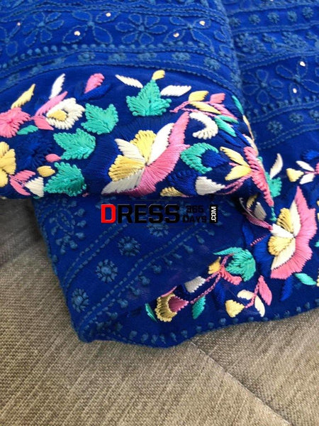 Royal Blue Parsi Gara Chikankari Kurti Fabric