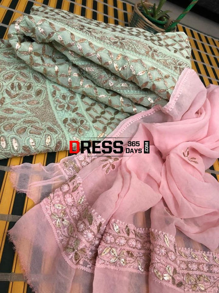 Sea Green And Pink Viscose Georgette Gota Patti Chikankari Anarkali Suit (Anarkali Dupatta)