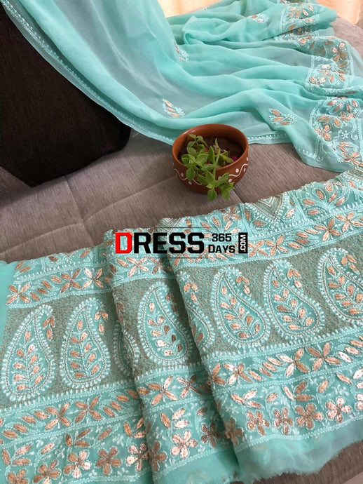 Sea Green Gota Patti Lucknowi Chikankari Suit Suits