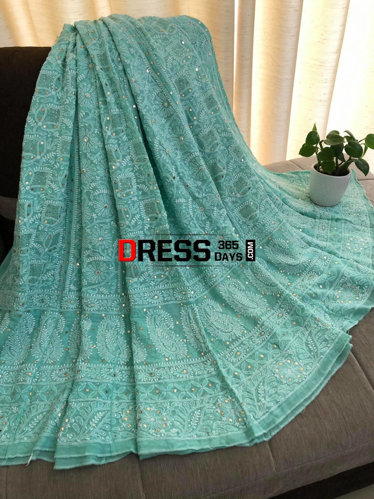 Sea Green Lucknowi Chikankari Lehenga With Golden Mukaish Work