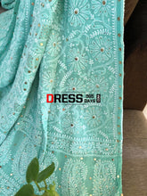 Load image into Gallery viewer, Sea Green Lucknowi Chikankari Lehenga With Golden Mukaish Work