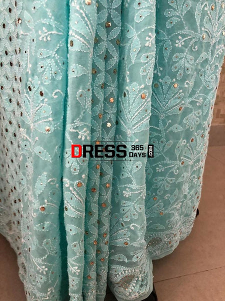 Sea Green Lucknowi Chikankari Saree With Mukaish Work