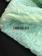 Load image into Gallery viewer, Sea Green Net Lucknowi Chikankari Anarkali