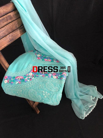 Sea Green Parsi Gara Chikankari Suit Suits