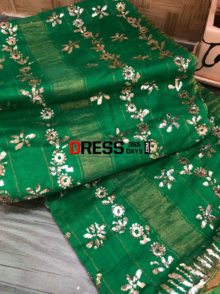 Semi Chanderi Mukaish Saree Chikankari