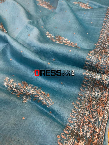 Sky Blue Aari Work Chanderi Suit (Kurta And Dupatta) Chikankari Suits