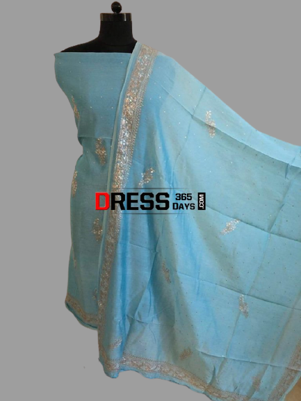 Sky Blue Aari Work Chanderi Suit (Kurta and Dupatta)