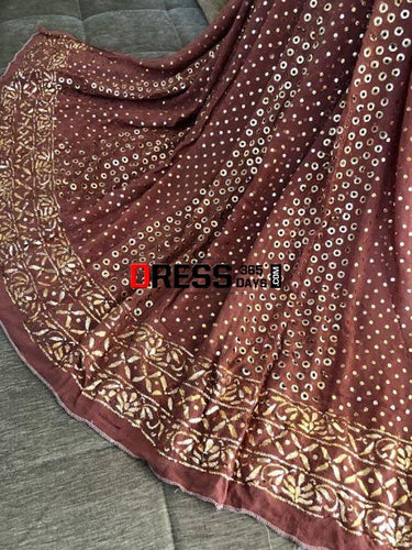 Taupe Brown Mukaish Anarkali Suit Kamdani