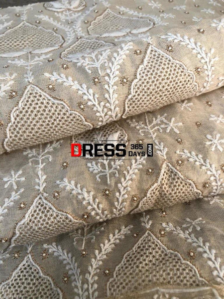 Tissue Chanderi Beads Andjaali Work Chikankari Suit Suits
