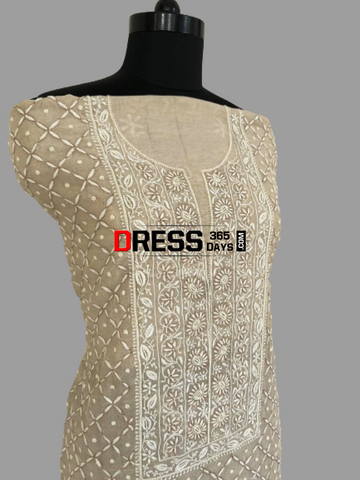 Tissue Chanderi Beads Chikankari Suit Suits